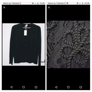 Black Lace-front Classic Cardigan NWT XXL
